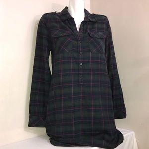GAP Sandra Green Plaid Button Down Shirt Dress